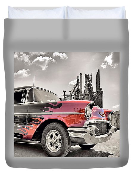 Flamin' 57 Duvet Cover by DJ Florek
