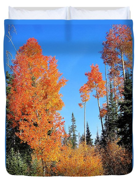 Duvet Cover featuring the photograph Flaming Autumn Trees In Dixie National Forest Utah by Deborah Moen