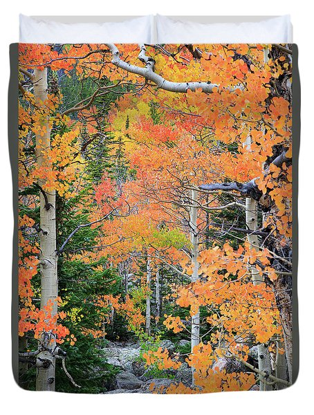 Duvet Cover featuring the photograph Flaming Forest by David Chandler