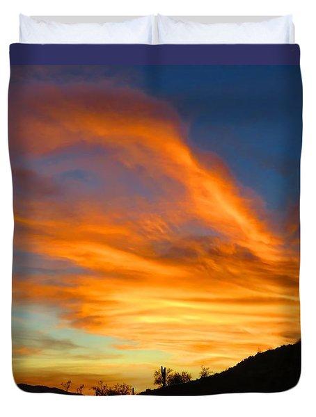 Flaming Hand Sunset Duvet Cover