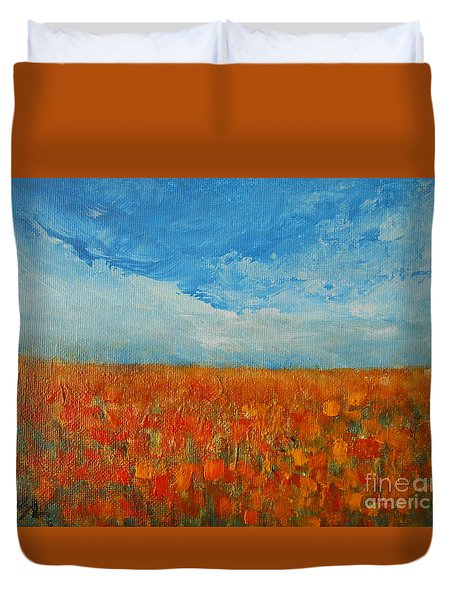 Duvet Cover featuring the painting Flaming Orange by Jane See