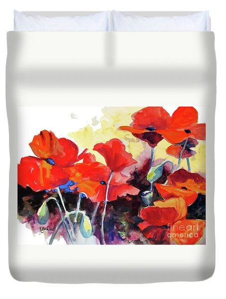 Duvet Cover featuring the painting Flaming Poppies by Kathy Braud