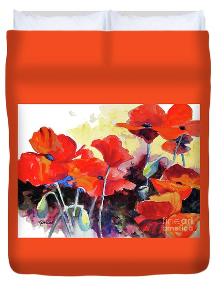 Flaming Poppies Duvet Cover