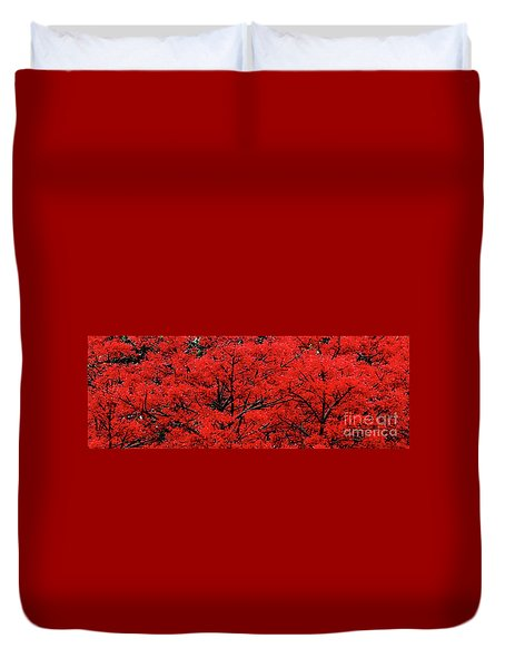 Duvet Cover featuring the photograph Flaming Red Panorama II By Kaye Menner by Kaye Menner