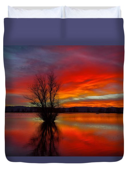 Flaming Reflections Duvet Cover