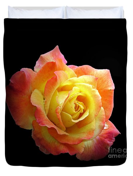 Flaming Rose On Black Duvet Cover by Chris Anderson