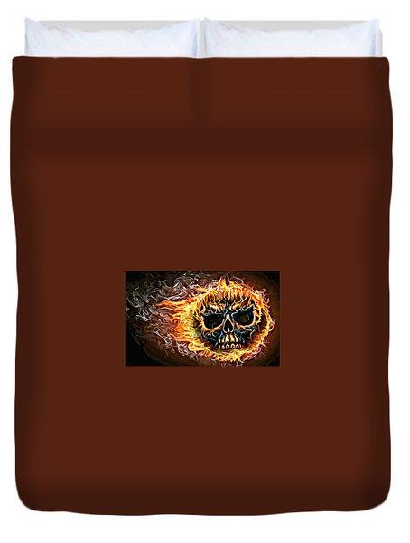 flaming skull Punk Gothic Biker Art Duvet Cover