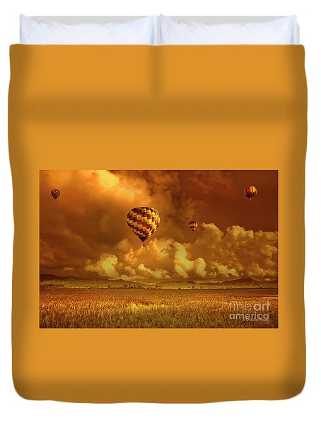 Duvet Cover featuring the photograph Flaming Sky by Charuhas Images