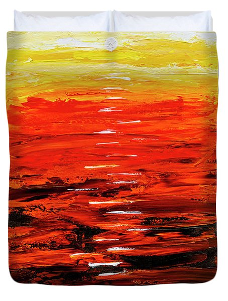 Duvet Cover featuring the painting Flaming Sunset Abstract 205173 by Mas Art Studio