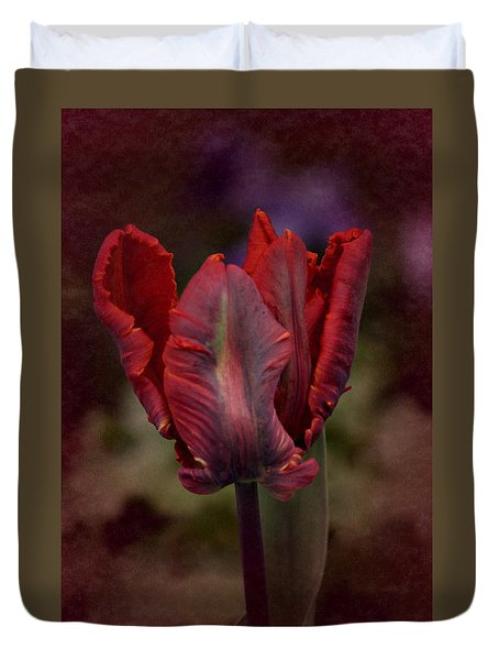 Duvet Cover featuring the photograph Flaming Tulip by Richard Cummings
