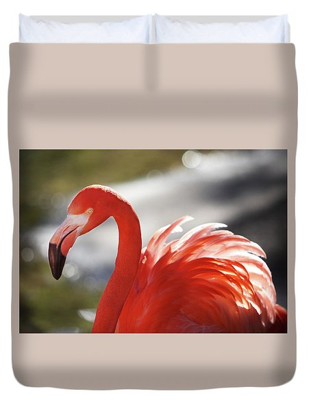 Duvet Cover featuring the photograph Flamingo 2 by Marie Leslie