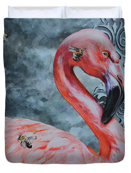 Flamingo And Bees Duvet Cover