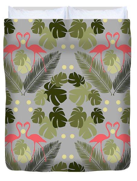Flamingo And Palms Duvet Cover