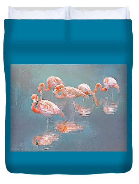 Flamingo Blues Duvet Cover