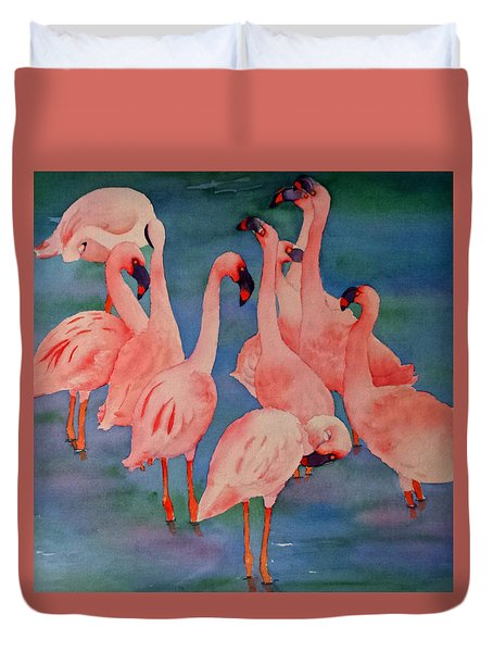 Duvet Cover featuring the painting Flamingo Convention In The Square by Judy Mercer