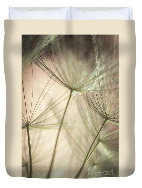 Flamingo Dandelions Duvet Cover by Iris Greenwell