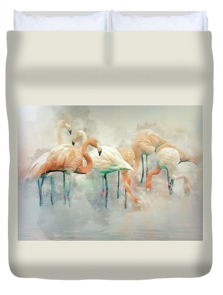 Flamingo Fantasy Duvet Cover by Brian Tarr