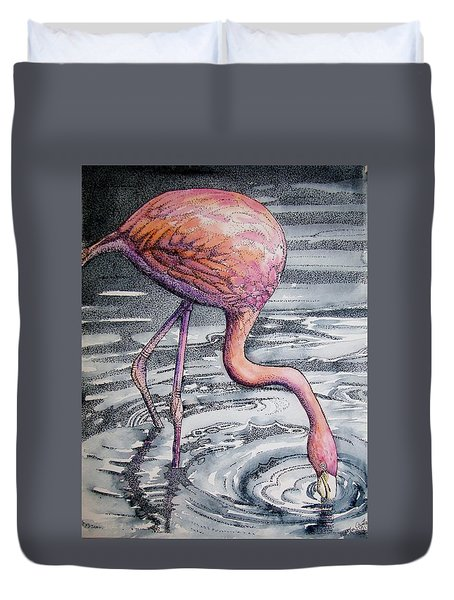 Duvet Cover featuring the painting Flamingo Fishing  II by Martha Ayotte