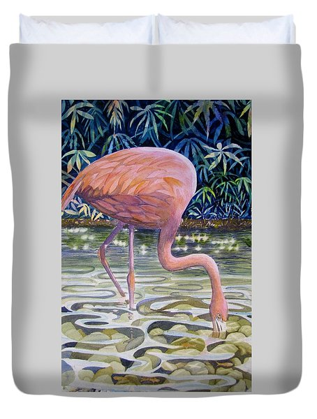 Duvet Cover featuring the painting Flamingo Fishing by Martha Ayotte