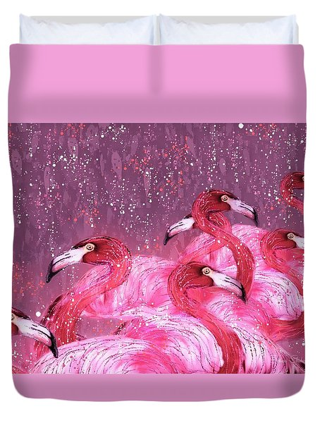 Flamingo Frenzy Duvet Cover by Barbara Chichester