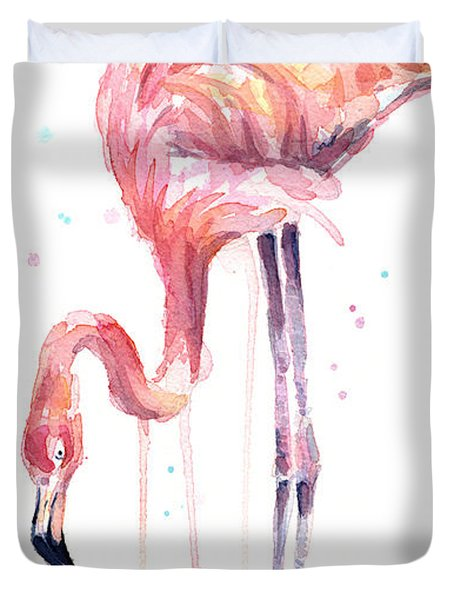 Flamingo Illustration Watercolor - Facing Left Duvet Cover