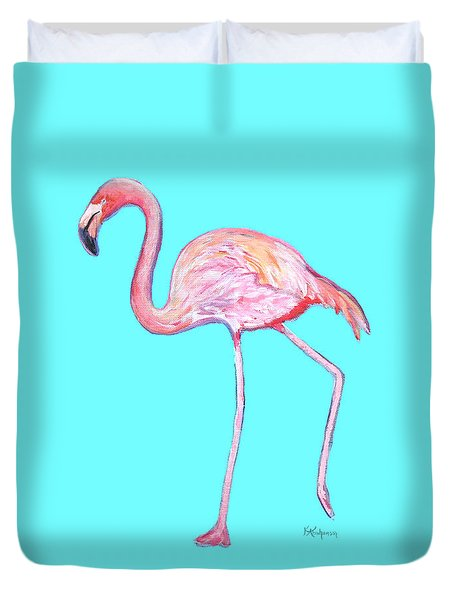 Flamingo On Blue Duvet Cover