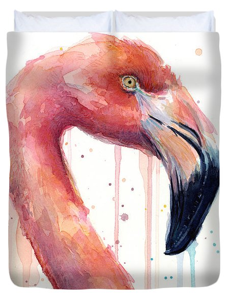 Flamingo Painting Watercolor - Facing Right Duvet Cover by Olga Shvartsur
