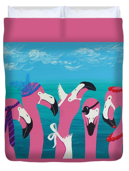 Duvet Cover featuring the painting Flamingo Party by Katherine Young-Beck