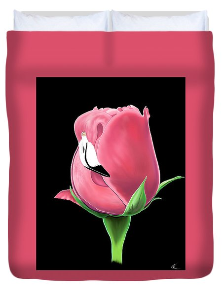 Flamingo Rose Duvet Cover