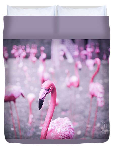 Duvet Cover featuring the photograph Flamingo by Setsiri Silapasuwanchai