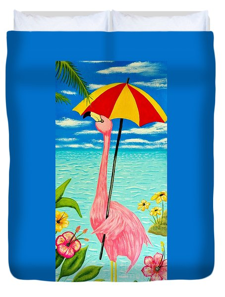 Flamingo Takes A Holiday Duvet Cover