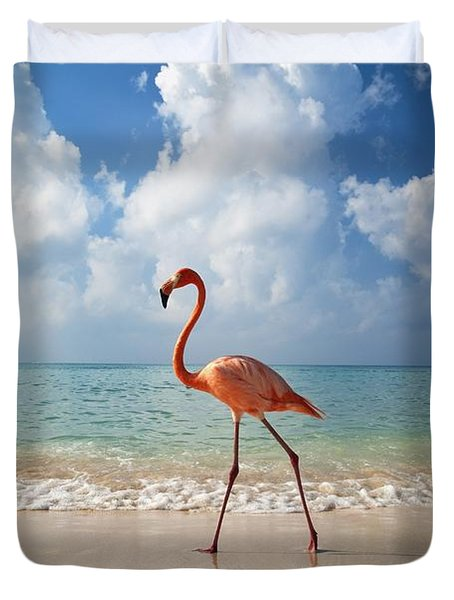 Flamingo Walking Along Beach Duvet Cover