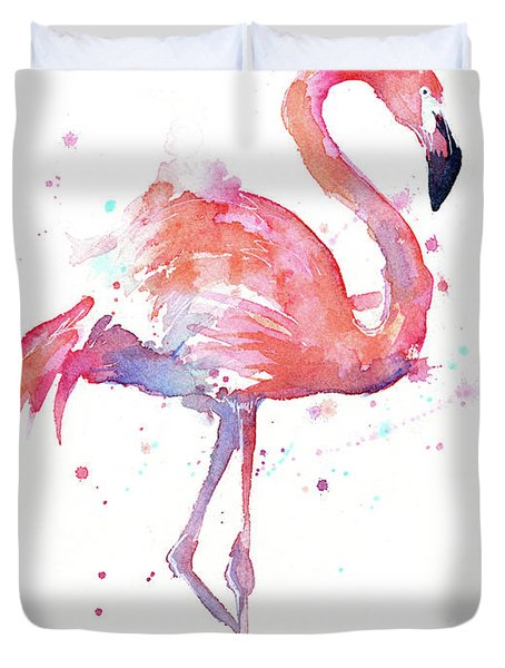 Flamingo Watercolor Facing Right Duvet Cover