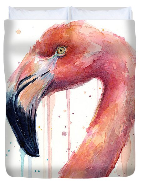 Flamingo Watercolor Illustration Duvet Cover