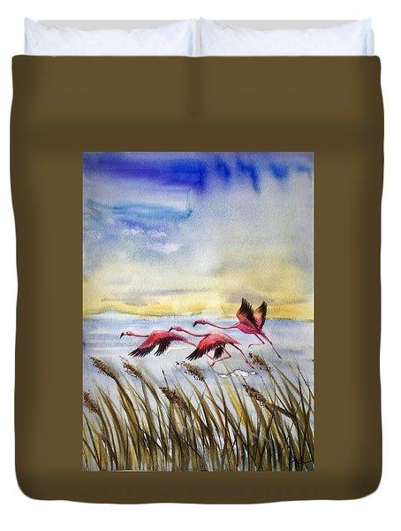 Flamingoes Flight Duvet Cover