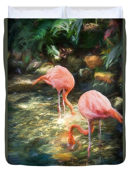Flamingoes In Keys Duvet Cover by Linda Olsen
