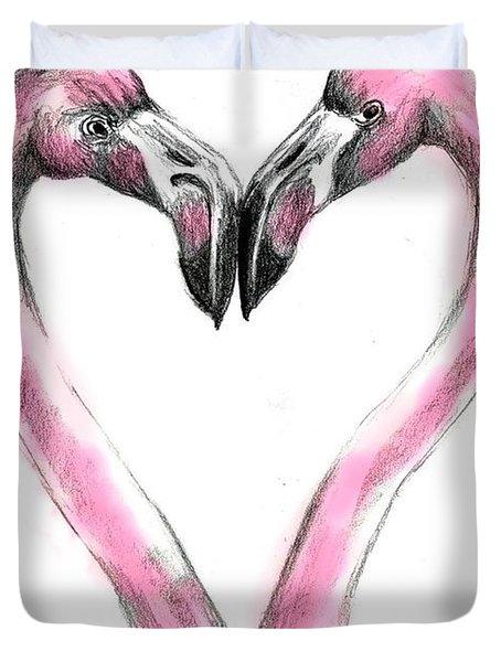 Flamingoes In Love2 Duvet Cover