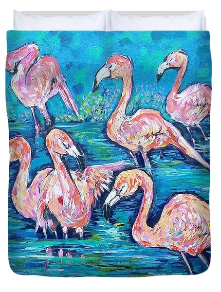 Flamingos At Zoo Atlanta  Duvet Cover