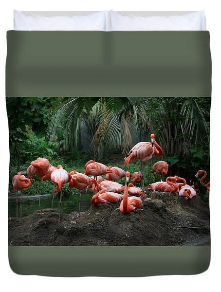 Flamingos Duvet Cover by Cathy Harper