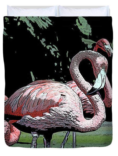 Duvet Cover featuring the photograph Flamingos I by Jim and Emily Bush