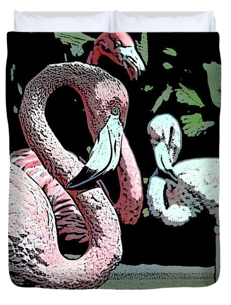 Duvet Cover featuring the photograph Flamingos II by Jim and Emily Bush