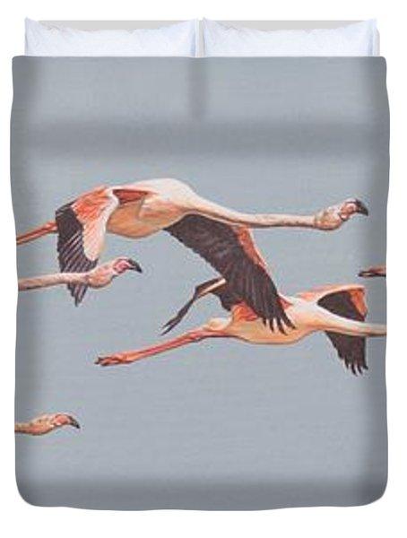 Flamingos In Flight Duvet Cover
