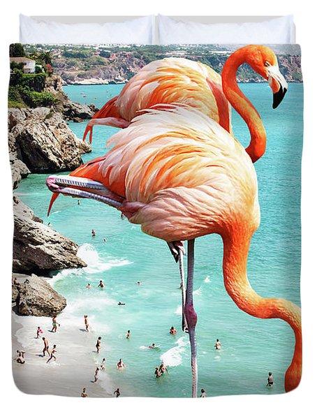 Flamingos On The Beach Duvet Cover