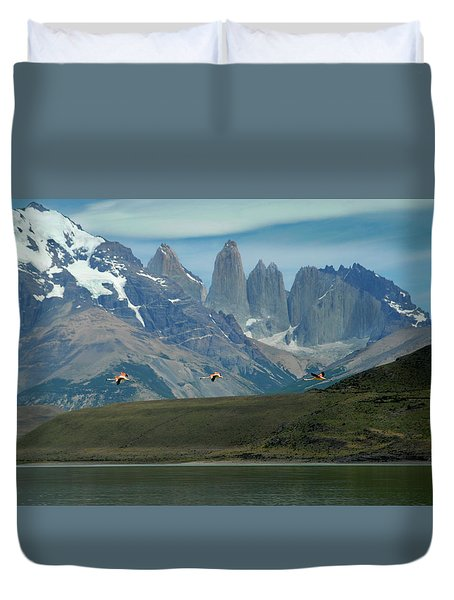 Flamingos Over Lago Nordenskjold Duvet Cover