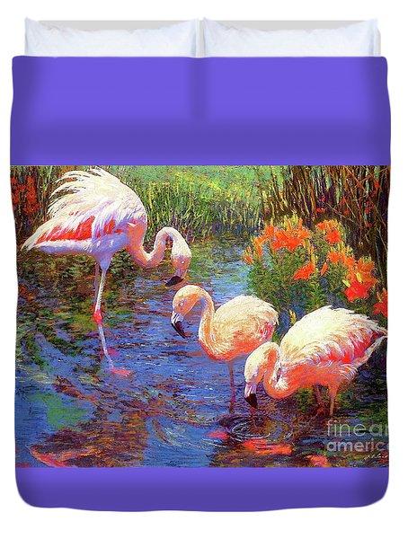Flamingos, Tangerine Dream Duvet Cover