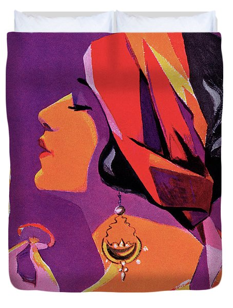 Flapper In A Scarf Applying Makeup, 1923 Duvet Cover