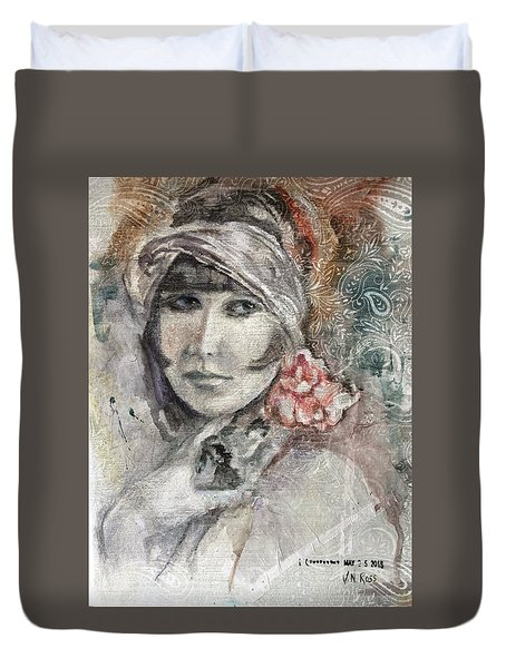 Flapper With Peony Duvet Cover