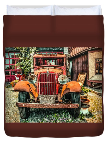 Duvet Cover featuring the photograph Flat Bed Ford by Nick Zelinsky