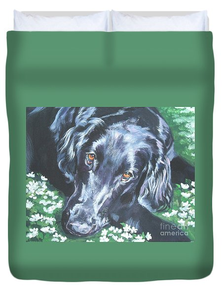 Duvet Cover featuring the painting Flat Coated Retriever by Lee Ann Shepard