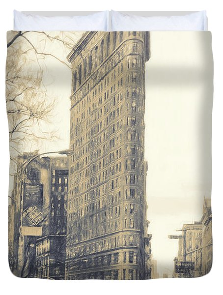 Flat Iron Building North Side - Sketch Duvet Cover